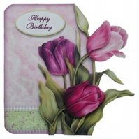 Birthday Card Pink Tulips Handcrafted 3D Decoupage Card & Matching Envelope