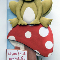 Unfrogettable Birthday Card Frog on a Toadstool 3D Decoupage Card