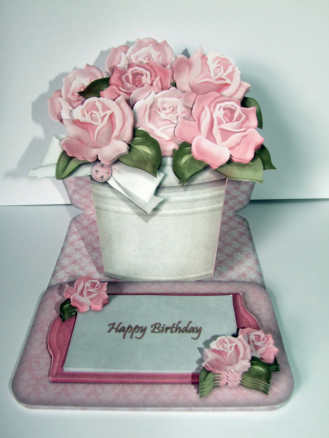 Pot of Pink Roses 3D Decoupage Card Birthday Card