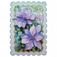 Purple Clematis Handcrafted 3D Decoupage Greetings Card Any Occasion Card