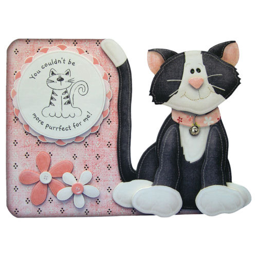 Purrfect For Me Valentine Card Handcrafted 3D Decoupage Cat Shaped Card Love