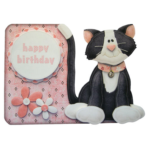 Cat Shaped Birthday Card Handcrafted 3D Decoupage Card