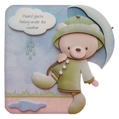 Get Well Soon Card 3D Decoupage Card Rainy Day Bear Feeling Under The Weather
