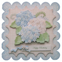 Shabby Chic Hydrangeas Birthday Card 3D Decoupage Card Handcrafted Floral Flower