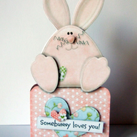 Somebunny Loves You Card Handcrafted 3D Decoupage Valentine's Day Love
