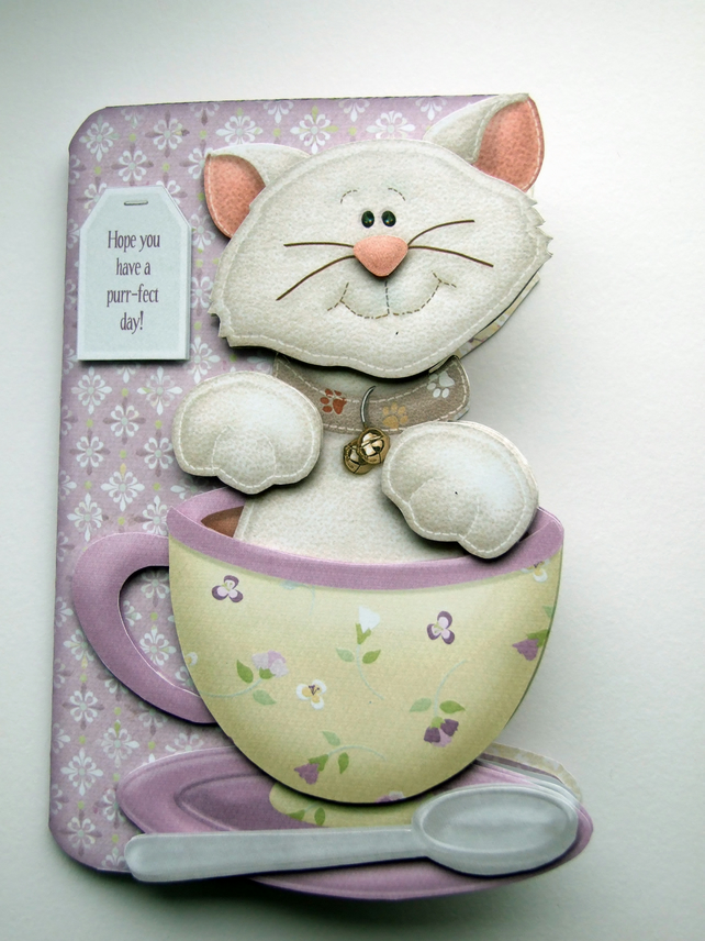 Tea Cup Cat Hand Crafted 3D Decoupage Card Birthday Teacup Kitty