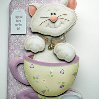 Teacup Kitty Hand Crafted 3D Decoupage Card various options cat card