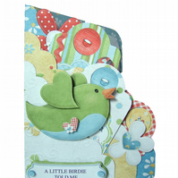 SALE  A Little Birdie Told Me... It's Your Birthday Scalloped Edge Pocket Card