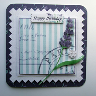 French Lavender Birthday Card 3D Decoupage Card & Matching Envelope Birthday