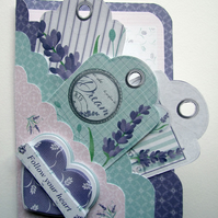 Scalloped Edge Pocket Card with 3D Decoupage and 3 Tags and Matching Envelope
