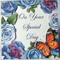On Your Special Day 3D Decoupage Card Hand Crafted Wedding Card Blue Roses