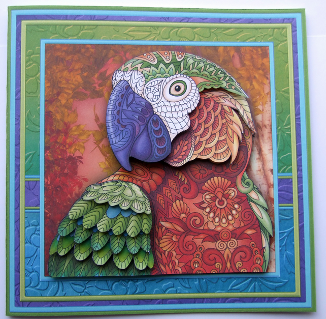 Zen Parrot 3D Decoupage Blank Card Bright & Colourful Card for Any Occasion