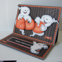 Ghostly Halloween Greetings 3D Decoupage Easel Card with Matching Envelope