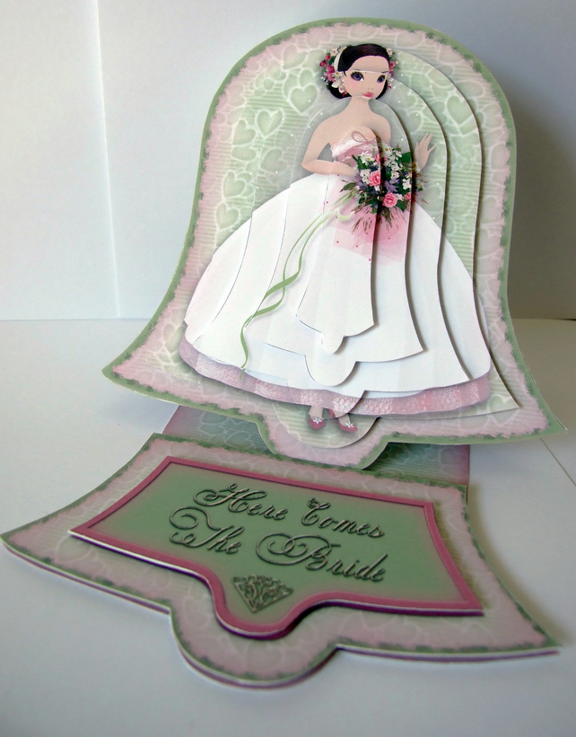 Wedding Bell Belle 3D Decoupage Wedding Card Here Comes the Bride Easel Card