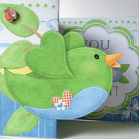 You Are So Tweet! Any Occasion Fold Back Card Love Friend Thank You Card Green