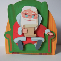 Santa's List 3D Decoupage shaped Christmas Card Santa Claus Father Christmas