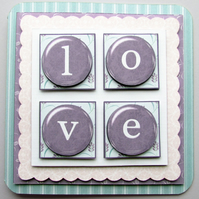 Love Squared 3D Decoupage Valentine Card Wife Husband Anniversary Card