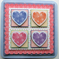 Patchwork Hearts 3D Decoupage Card Valentine Anniversary Love Husband Wife