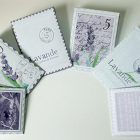 Six Vintage Style Lavender Seed Packet Envelopes for Cards, Weddings, Favours