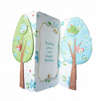 Spring Breeze Tree Shaped Tri Fold Birthday Card