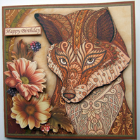 Zen Fox 3D Decoupage Birthday Card Zentangle Style Design