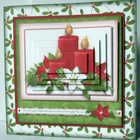 Christmas Candles Special Handmade 3D Decoupage Pyramage Christmas Card
