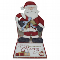 May Your Christmas Be Merry Special Handmade 3D Decoupage Christmas Card Santa