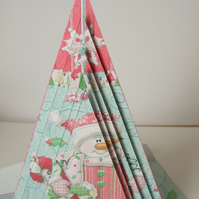 Pink Snowman Triangular Pyramage Christmas Card 3D Decoupage Handcrafted