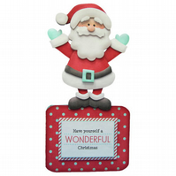 Cute Santa Claus Over The Top 3D Decoupage Christmas Card Father Christmas