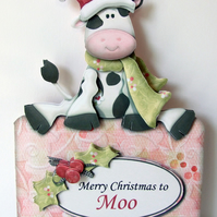Merry Christmas to Moo 3D Decoupage Christmas Card with Matching Envelope Cow