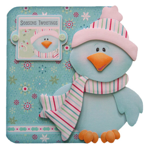 Season's Tweetings Handcrafted 3D Decoupage Christmas Card Cute Bird