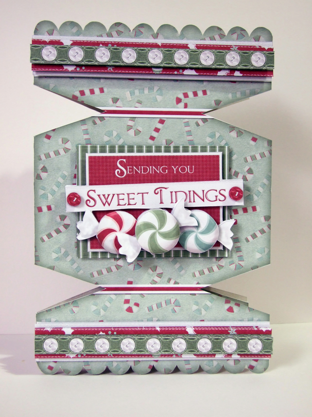 Sweet Tidings Cracker Shaped Christmas Greetings Card Handcrafted 3D Decoupage