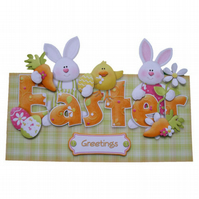 Easter Greetings Over The Top Card 3D Decoupage Matching Envelope Happy Easter
