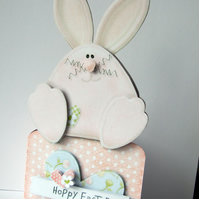 Hoppy Easter Card Handcrafted 3D Decoupage Card Easter Bunny Card
