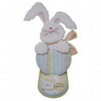 Hoppy Easter Easel Card Hand Crafted 3D Decoupage Card Easter Bunny Easter Egg