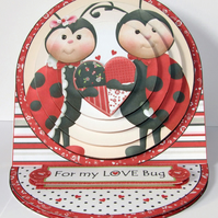 Love Bug Valentine Handcrafted 3D Decoupage Card Ladybird Valentine 3D Card