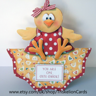 Chick Card 3D Decoupage Card With Various Options Birthday Easter Valentine etc