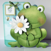 Toadily Cute 3D Decoupage Card with Matching Envelope Frog Shaped Card