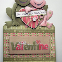 Valentine Card Toadily in Love Hand Crafted 3D Decoupage Male Female Secret Love