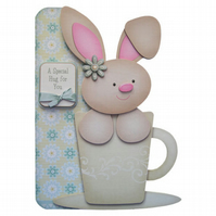 Bunny Hugs 3D Decoupage Card Birthday Thank You & Other Options Available