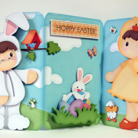 Easter Fun 3 Panel 3D Decoupage Card & Matching Envelope. Easter Bunny & Chick