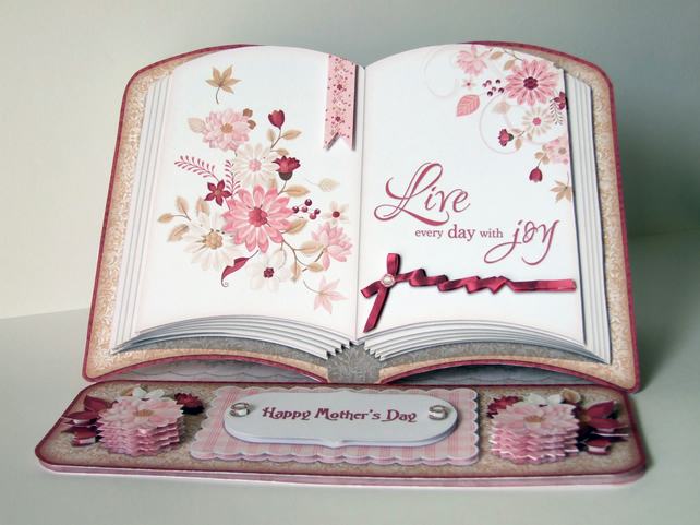 Joyful Days Open Book 3D Decoupage Easel Card & Matching Envelope, Mother's Day