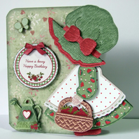 Strawberry Sue 3D Decoupage Card & Matching Envelope. Various Options Available
