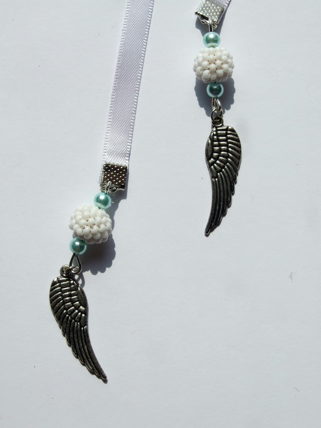 Angel Wings Charm Ribbon Bookmark with Beaded Beads and Pearl Beads, Page Marker
