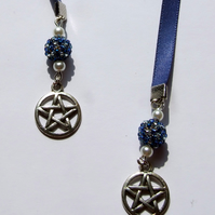 Pentagram Charm Ribbon Bookmark with Beaded Beads and Pearl Beads Pentacle