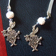 White Rabbit Charm Ribbon Bookmark with Beaded Beads  Alice in Wonderland