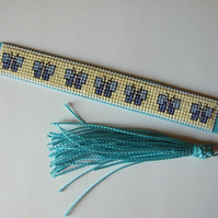 Blue Butterflies Cross Stitch Wooden Bookmark with Handcrafted Tassel