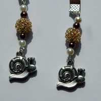 Snail Charm Ribbon Bookmark with Gold Beaded Beads & Pearl Beads, Page Marker