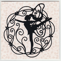 Dancing Fairy Silhouette Card, Any Occasion card, Birthday Cards, etc