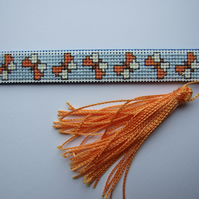 Butterfly Bookmark with Tassel, Cross Stitched Wooden Bookmark, Butterflies